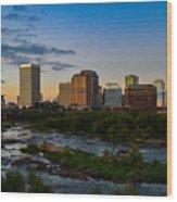 Richmond Skyline At Dusk Wood Print