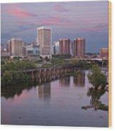 Richmond Skyline Sunset Pink Wood Print