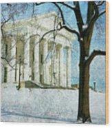 Richmond Virginia Capitol In Snow Wood Print