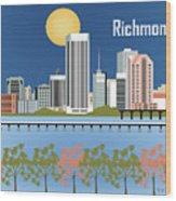 Richmond Virginia Horizontal Skyline Wood Print
