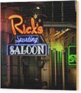 Ricks Sporting Saloon Wood Print