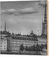 Riddarholmen Black And White Wood Print