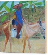 Ride To School On Donkey Back Wood Print