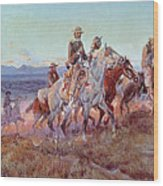 Riders Of The Open Range Wood Print