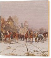 Riders Outside A Village In A Winter Landscape Wood Print