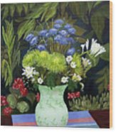 Ridge Lane Green Vase Wood Print