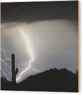 Ridin The  Southwest Desert Storm Out Wood Print