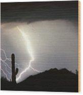 Ridin The  Southwest Desert Storm Out Wood Print