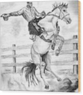 Riding A Flying Horse Wood Print