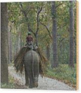 Riding An Elephant Wood Print