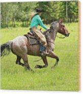 Riding Fast  Wood Print
