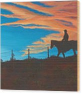 Riding Fence Wood Print