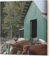 Riding Horses Wood Print