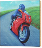 Riding The Highlands - Ducati 999 Wood Print