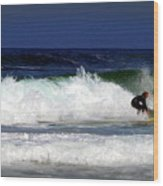 Riding The Waves At Asilomar State Beach Four Wood Print