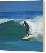 Riding The Waves At Asilomar State Beach Three Wood Print