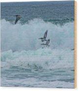 Riding The Waves At Wall Beach Wood Print