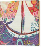 Riding The Waves In Bubbles Of Joy Wood Print