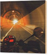 Riding Through One Of The Many Tunnels In The Italian Alps Wood Print