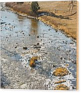 Riffles In The River Wood Print