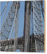 Rigging Aboard The Galeon Wood Print