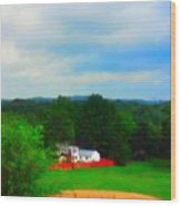 Right Field And Green Meadows Wood Print