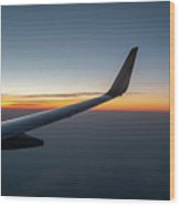 Right Wing Of Airplane In Mid Air With Sunrise In The Background Wood Print