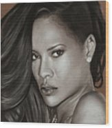 Rihanna Portrait Wood Print
