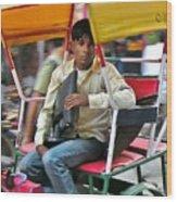 Rikshaw Rider - New Delhi India Wood Print