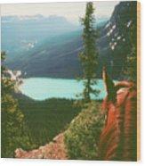Rim-riding O'er The Canadian Rockies Wood Print