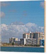 Ringling Causeway Sarasota Skyline West View Wood Print