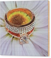 rings on white daisy love Valentine's Day  gerbera and wedding gold  Wood Print