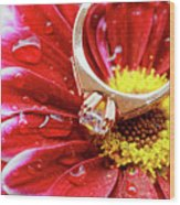 rings pink dahlias love Valentine's Day Tinted  and softened - diamond wedding  Wood Print