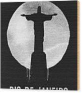 Rio De Janeiro Landmark Black Wood Print