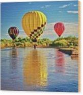 Rio Grande balloon Reflection, Albuquerque, NM Wood Print