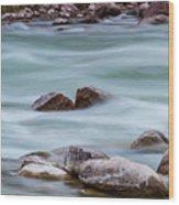 Rio Grande Flow Through Stones Wood Print