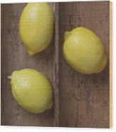 Ripe Lemons In Wooden Tray Wood Print