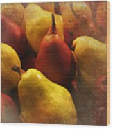 Ripe Pears And Two Persimmons Wood Print