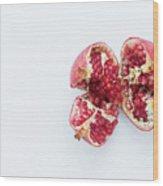 Ripe Pomegranate Fruit On A White Background Wood Print