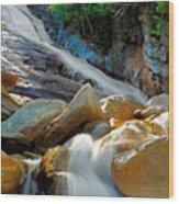 Ripley Falls Cascading Light Wood Print by Shell Ette