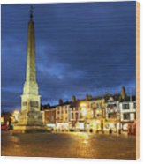 Ripon Market Place At Dusk Wood Print