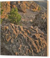 Ripple Boulders At Sunset In Bentonite Quarry Wood Print