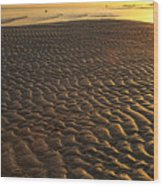Ripples In The Sand Low Tide Golden Sunset Wood Print