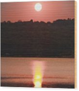Ripples Of Sunset Wood Print