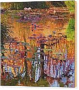 Ripples On Fall Pond Wood Print