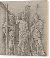 Risen Christ Between Saints Andrew And Longinus Wood Print