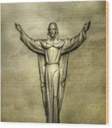 Risen Christ In Gold Wood Print