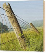 Rising Mist With Falling Fence Wood Print