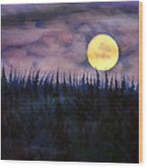 Rising Moon Of Alaska Wood Print