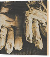 Rising Mummy Hands In Bandage Wood Print